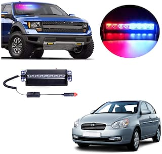 Cartronics 8 LED Red Blue Police Flasher Light for Hyundai Verna Old