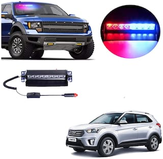 Cartronics 8 LED Red Blue Police Flasher Light for Hyundai Creta