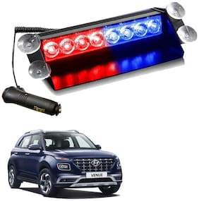 Cartronics 8 LED Red Blue Police Flasher Light For Hyundai Venue (12V)