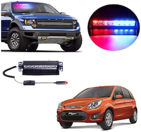 Cartronics 8 LED Red Blue Police Flasher Light for Ford Figo