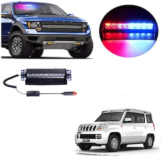 Cartronics 8 LED Red Blue Police Flasher Light for Mahindra TUV 300