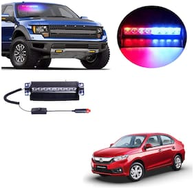 Cartronics 8 LED Red Blue Police Flasher Light for Honda Amaze