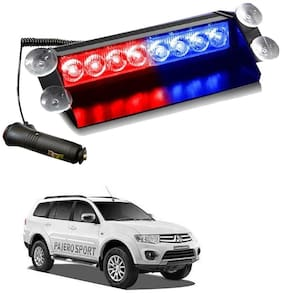 Cartronics 8 LED Red Blue Police Flasher Light for Mitsubishi Pajero Sport (12V)