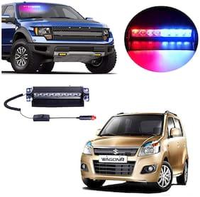 Cartronics 8 LED Red Blue Police Flasher Light for Maruti Suzuki Wagonr