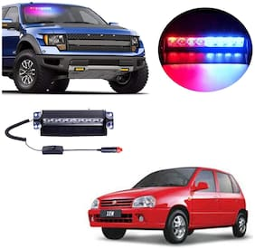 Cartronics 8 LED Red Blue Police Flasher Light for Maruti Suzuki Zen