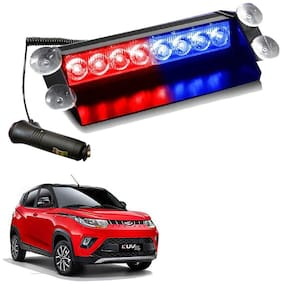 Cartronics 8 LED Red Blue Police Flasher Light for Mahindra KUV 100