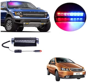 Cartronics 8 LED Red Blue Police Flasher Light for Tata Indigo ECS