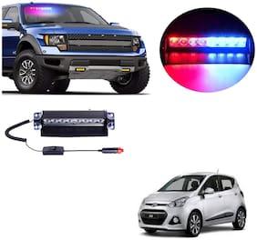Cartronics 8 LED Red Blue Police Flasher Light for Hyundai I10