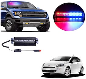 Cartronics 8 LED Red Blue Police Flasher Light for Fiat Punto