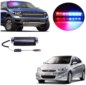 Cartronics 8 LED Red Blue Police Flasher Light for Hyundai Accent