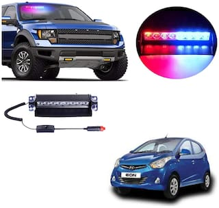 Cartronics 8 LED Red Blue Police Flasher Light for Hyundai Eon