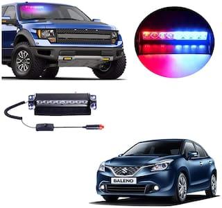 Cartronics 8 LED Red Blue Police Flasher Light for Maruti Suzuki Baleno