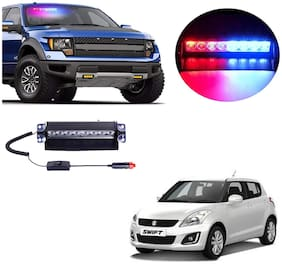 Cartronics 8 LED Red Blue Police Flasher Light for Maruti Suzuki Swift