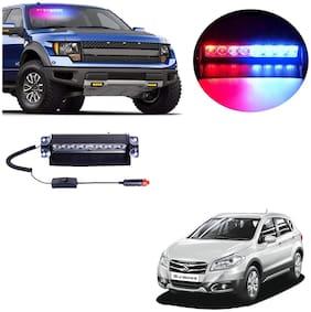 Cartronics 8 LED Red Blue Police Flasher Light for Maruti Suzuki S Cross