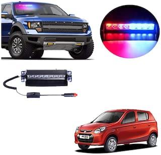 Cartronics 8 LED Red Blue Police Flasher Light for Maruti Suzuki Alto 800 Old
