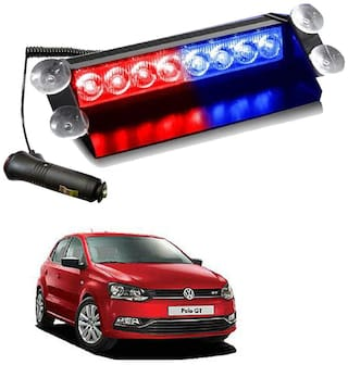 Cartronics 8 LED Red Blue Police Flasher Light for Volkswagen Polo GT