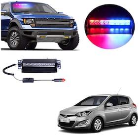 Cartronics 8 LED Red Blue Police Flasher Light for Hyundai I20