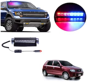 Cartronics 8 LED Red Blue Police Flasher Light for Maruti Suzuki Alto K10