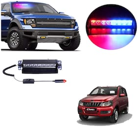 Cartronics 8 LED Red Blue Police Flasher Light for Mahindra Quanto
