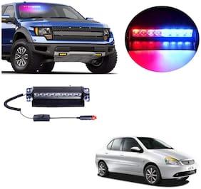 Cartronics 8 LED Red Blue Police Flasher Light for Tata Indigo Cs