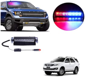 Cartronics 8 LED Red Blue Police Flasher Light for Toyota Fortuner