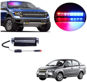 Cartronics 8 LED Red Blue Police Flasher Light for Chevrolet Aveo