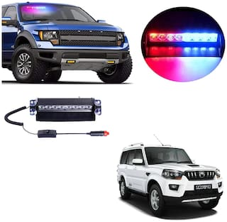 Cartronics 8 LED Red Blue Police Flasher Light for Mahindra Scorpio