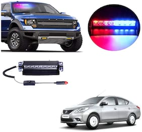 Cartronics 8 LED Red Blue Police Flasher Light for Nissan Sunny