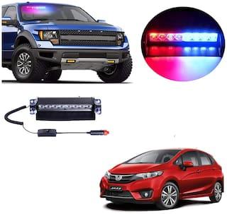 Cartronics 8 LED Red Blue Police Flasher Light for Honda Jazz