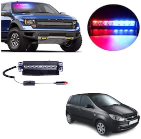 Cartronics 8 LED Red Blue Police Flasher Light for Hyundai Getz