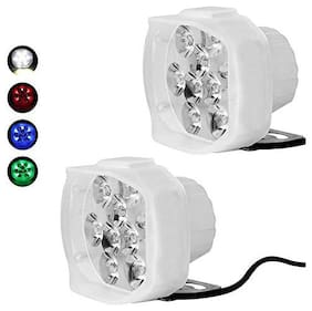 Cartronics 9 Led All Bikes And Cars Led Fog Lights Fog Lamp Assembles Pack Of 2 With Switch White