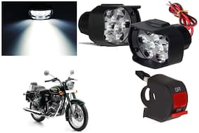 Cartronics 9 Led Silon Fog Light White With On/Off Swich For Royal Enfield Bullet 500