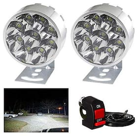Cartronics 9 Led Small Motorcycle All Bikes And Cars Led Fog Lights Round Fog Lamp Assembles Pack Of 2 With Switch White