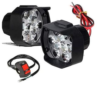 Cartronics 9 LED Silone Waterproof Fog Light Pack Of 2 with on/off Handlebar Switch White for All Bikes And Cars