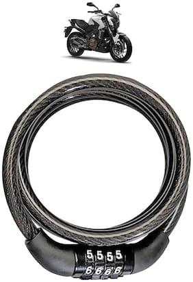 Cartronics  Bike Lock 4 Digit Code Combination Anti-Theft Bicycle/Motorcycle/Cycling Lock/Steel Cable Coil/Bike Security wuth 2 Key for Bajaj Dominar_(Black)