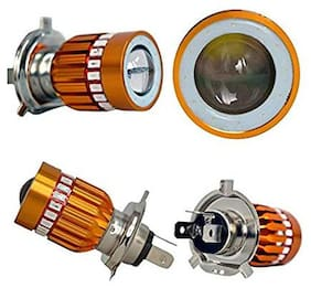 Cartronics Double Side Cob White Hi Low Beam H4 Headlight Bulb For All Bikes And Scooty