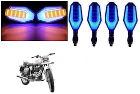 Cartronics Front And Rear U Shape Dual Color DRL Indicator Light for Royal Enfield Bullet 350  Blue Yellow Pack Of 4