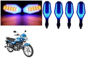 Cartronics Front And Rear U Shape Dual Color DRL Indicator Light for Hero HF Deluxe BS6  Blue Yellow Pack Of 4