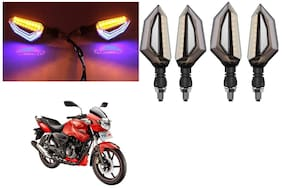 Cartronics Front;Side;Rear D Shape Dual Color DRL Indicator Light for TVS Apache RTR 160 (Blue Yellow;Pack of 4)
