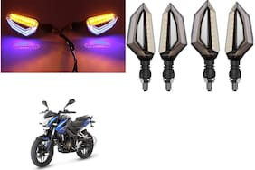 Cartronics Front;Side;Rear D Shape Dual Color DRL Indicator Light for Bajaj Pulsar NS 200 (Blue Yellow;Pack of 4)