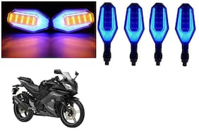 Cartronics Front And Rear U Shape Dual Color DRL Indicator Light for Yamaha YZF R15S  Blue Yellow Pack Of 4