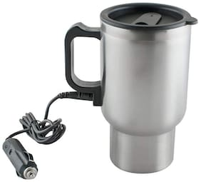 Cartronics Steel Travel Outdoor Electric Mug 12 V Car Charging Electric Kettle Travel Coffee Mug Cup Heated Thermos 450 Ml