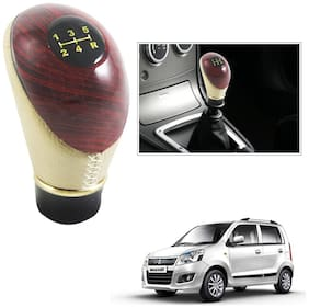 Cartronics Universal Type R Leatherette Wooden Finished Gear Knob Beige Car Gear Shift knob