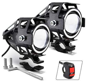 Cartronics U7 CREE LED Driving Fog Light Pack Of 2 with Switch and for All Bike And Cars White