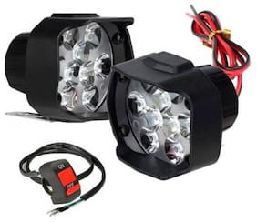 Cartronics White 9 LED Bike Light Fog light Set of 2 (Switch Free)