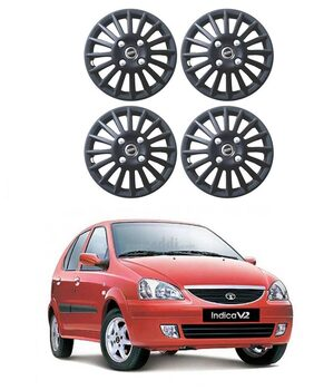 Carway 101 Series Matte Black Wheel Cover For Tata Indica V2 Turbo - Set of 4