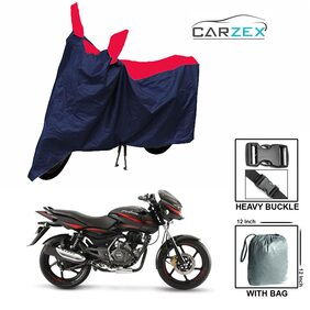 CARZEX Bike Body Cover For Bajaj Pulsar 150 With Storage Bag (Red Blue)