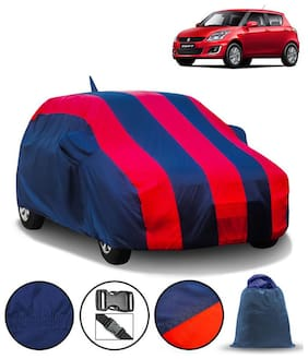Carzex Car Body Cover For Maruti Swift 2012 With Mirror & Antenna Pockets & Storage Bag (Full Sized, Full Bottom Elastic, Red & Blue Stripe Design)