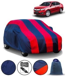 Carzex Car Body Cover For Honda Amaze 2018 with Mirror Pockets & Storage Bag (Full Sized, Full Bottom Elastic, Red & Blue Stripe Design)1