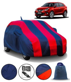 Carzex Car Body Cover For Toyota Glanza With Mirror & Antenna Pockets & Storage Bag (Full Sized, Full Bottom Elastic, Red & Blue Stripe Design)